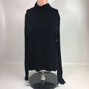 Tribal shirt blouse women's medium black